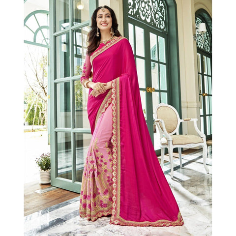 Triveni Georgette Pink Party Wear Embroidered Half n Half Sarees