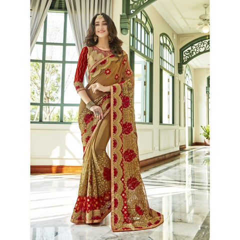 Triveni Georgette Beige Party Wear Embroidered Traditional Sarees