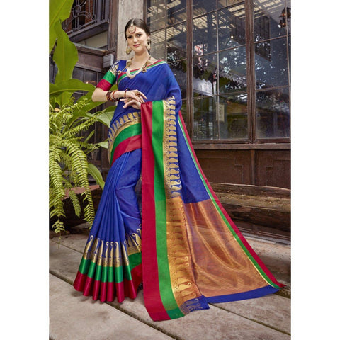 Banarasi Silk Blue Traditional Sarees