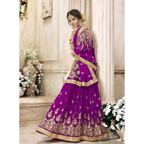 Triveni Faux Georgette Purple Festival Wear Embroidered Traditional Sarees