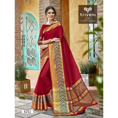 Silk Red Festival Wear  Sarees