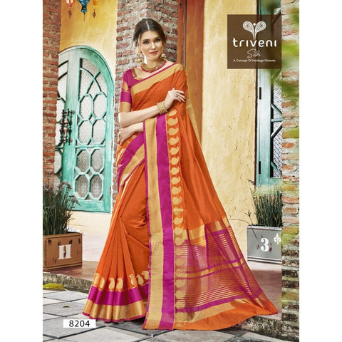 Orange Festival Wear Traditional Sarees