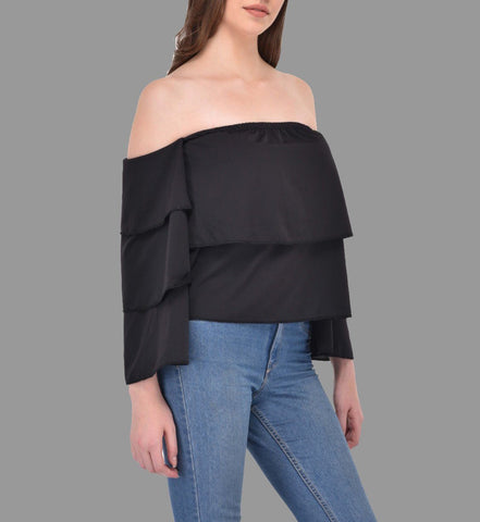 Tiered Flare Panel Black Bardot Top