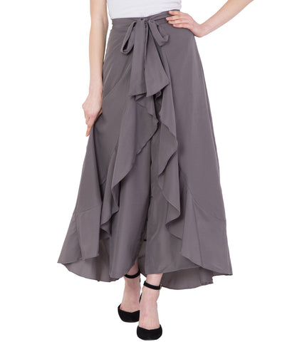 Women's Grey Stylish Solid Flared Plazzo