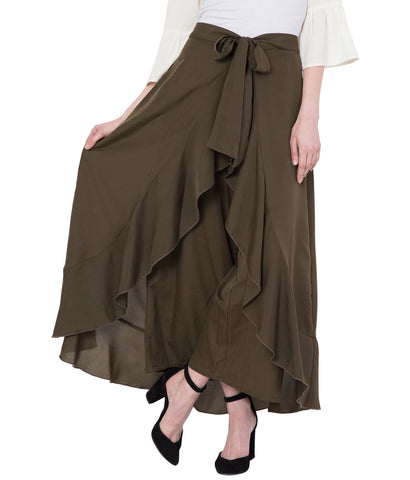 Khaki Stylish Ruffle Palazzo for Women