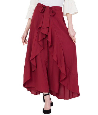 Maroon Stylish Flared Plazzo for Women
