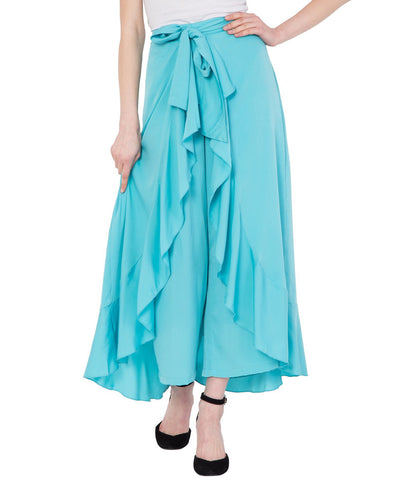 Turquoise Stylish Solid Flared Skirt for Women