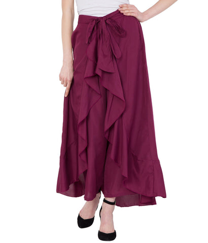 Wine Coloured Solid Ruffle Palazzo for Women