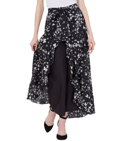 Women's Black Stylish Printed Ruffle Palazzo