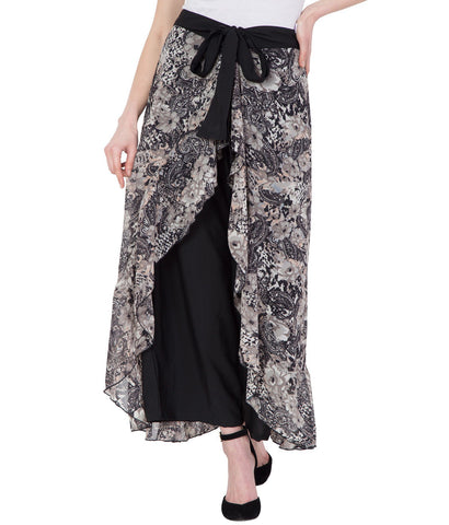 Women's Black Stylish Printed Flared Plazzo
