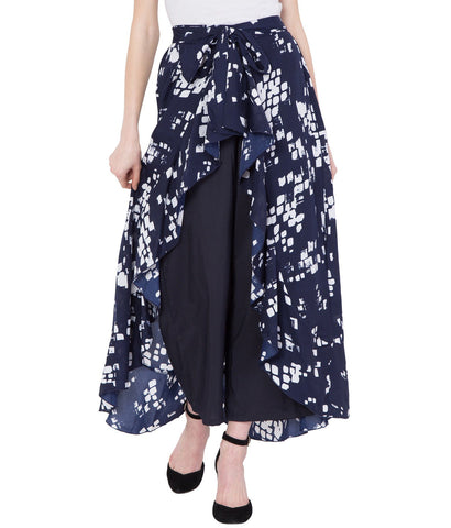 Women's Navy Blue Stylish Printed Ruffle Palazzo