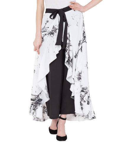 White Stylish Printed Ruffle Palazzo For Women
