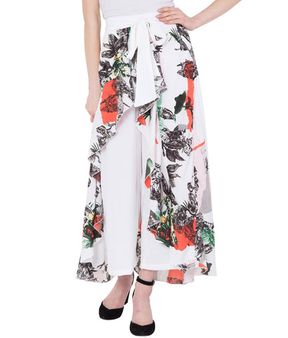 White Stylish Printed Flared Skirt for Women