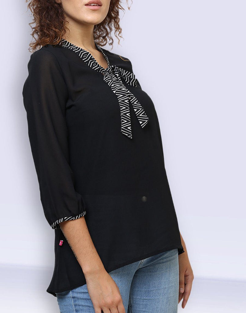 Fab Black Knotted Top