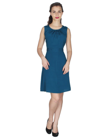 Blue Crepe Solid Dress