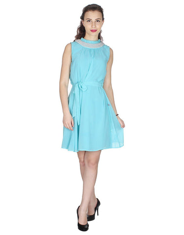 Sky Blue Solid Dress