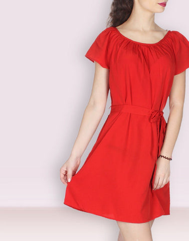 Red Solid Sizzling Dress