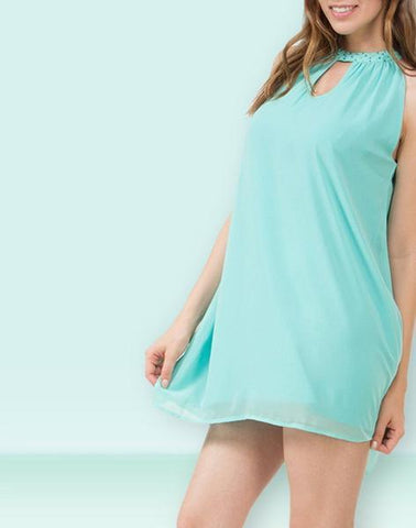 Aqua Green Solid Simply Dress