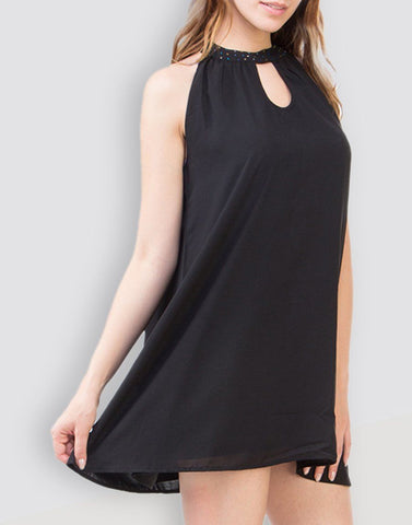 Fab Black Solid Dress