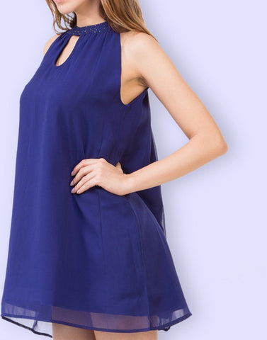 Fab Blue Solid Dress