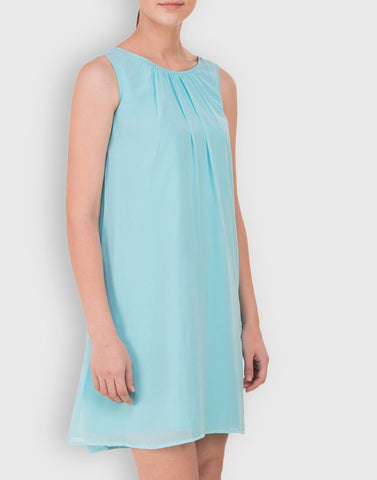 Fab Aqua Blue Solid Dress