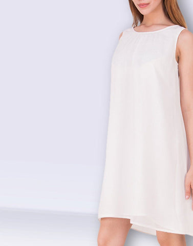 Fab Cream Solid Dress