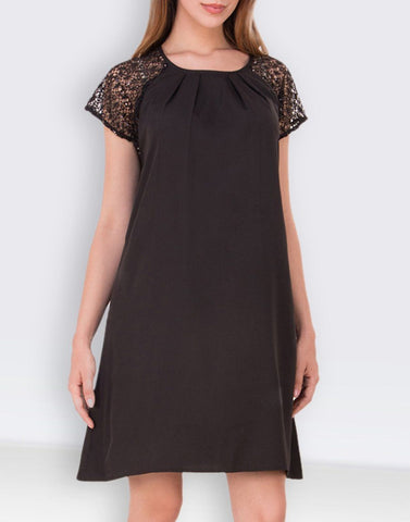 Lace Self-Design Straight Dress