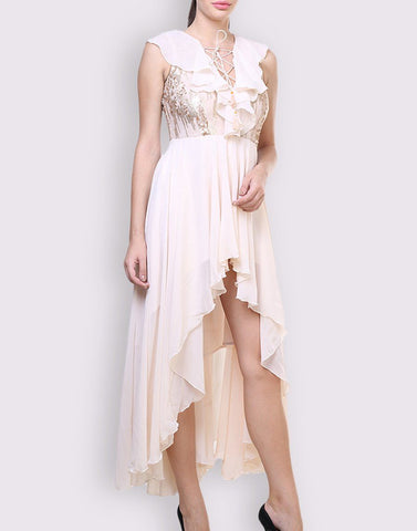 Fab Beige Solid Gorgeous Dress