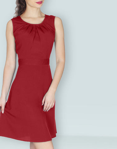 Maroon Solid Simple Dress