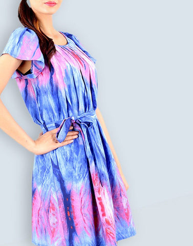 Blue And Pink Printed Dress