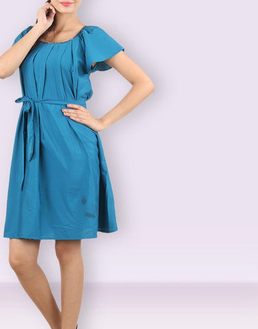 Regular Blue Solid Dress