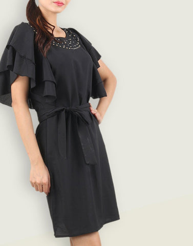 Black Simply Solid Dress