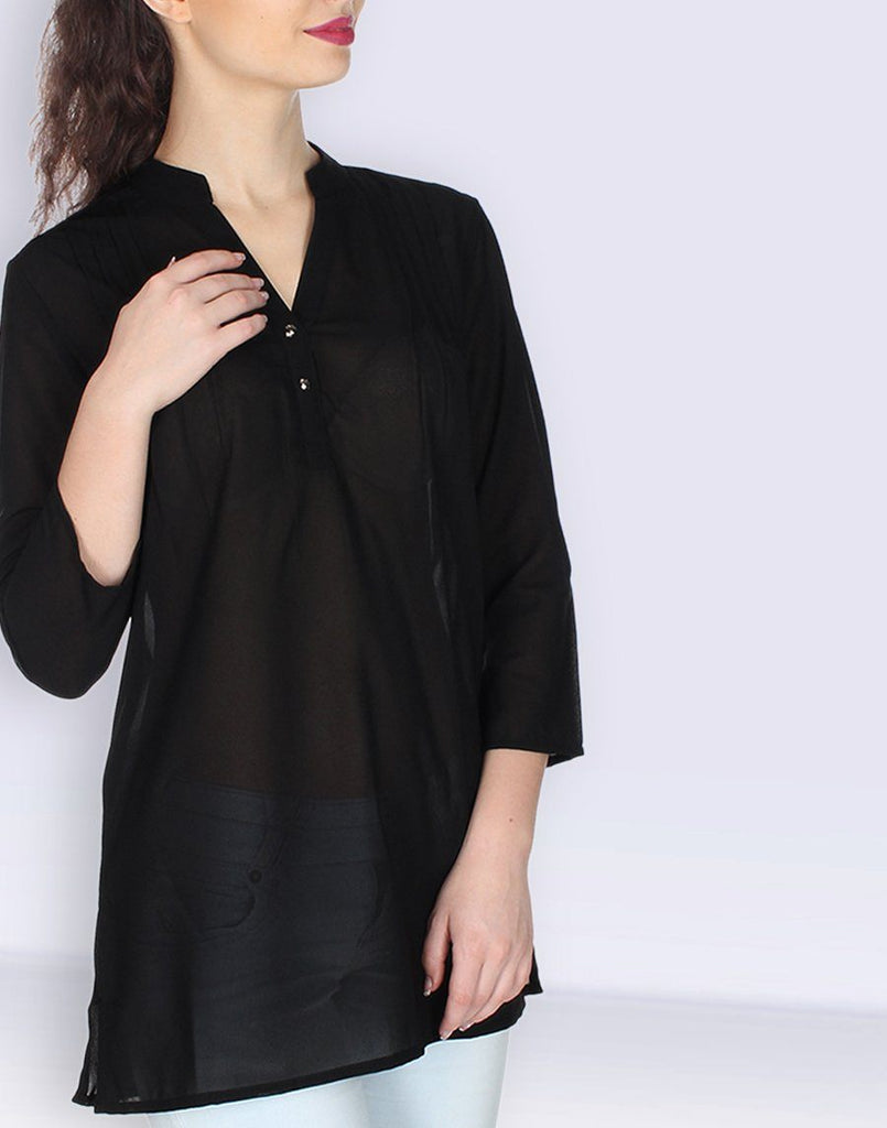 Black Solid Georgette Tunic