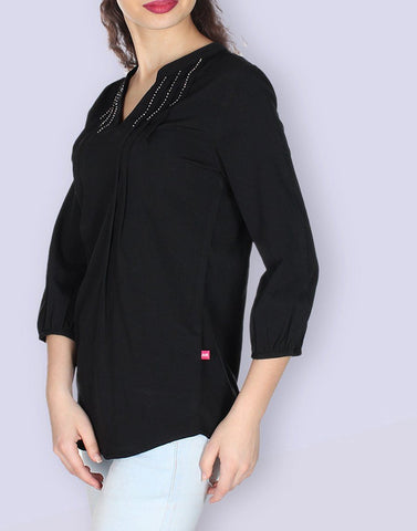 Black Solid Tunic