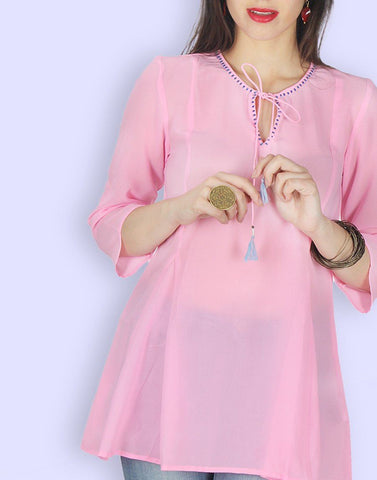 Baby Pink Solid Tunic