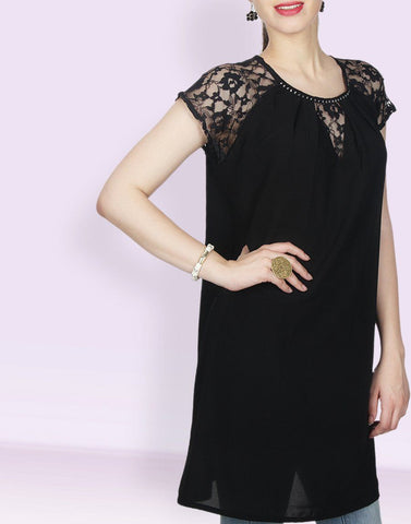 Black Solid Crepe Tunic