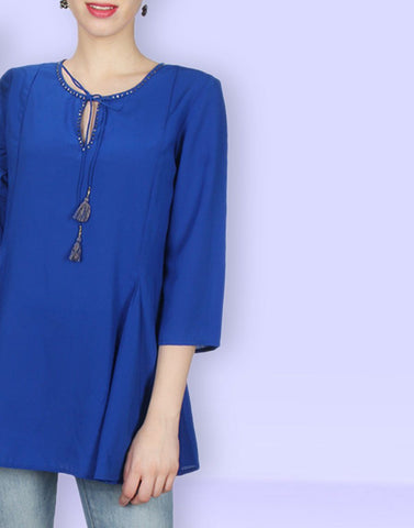 Blue Simply Solid Tunic