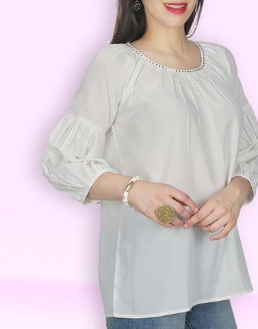 Cream Solid Tunic