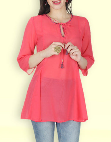 Pink Solid Georgette Tunic