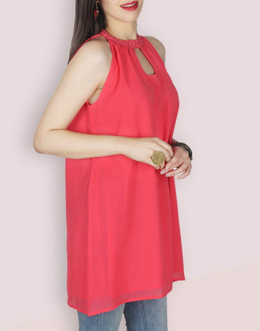 Pink Solid Regular Tunic