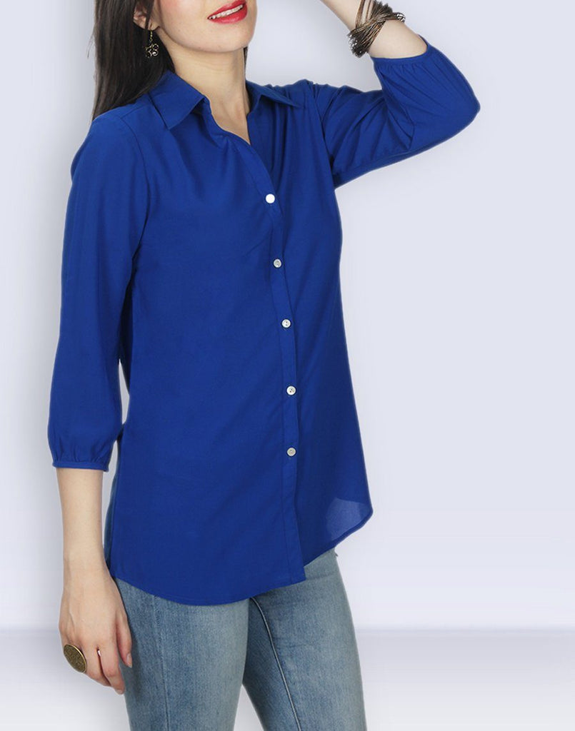 Blue Solid Regular Tunic