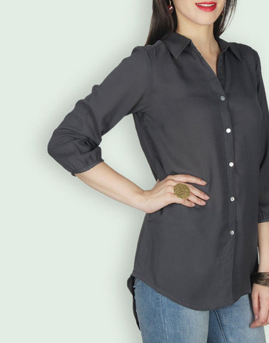 Black Solid Regular Shirt