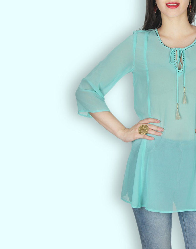 Aqua Green Georgette Tunic
