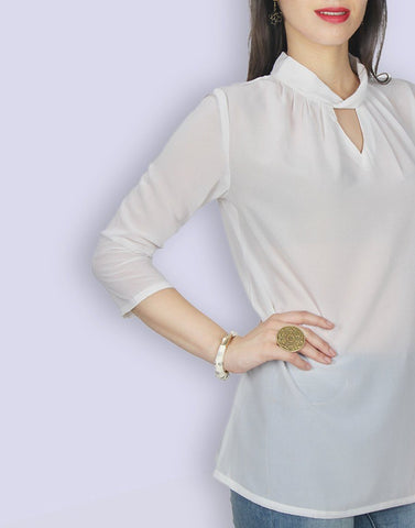 Cream Solid Georgette Tunic