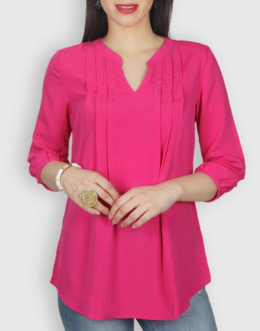Pink Solid Crepe Tunic