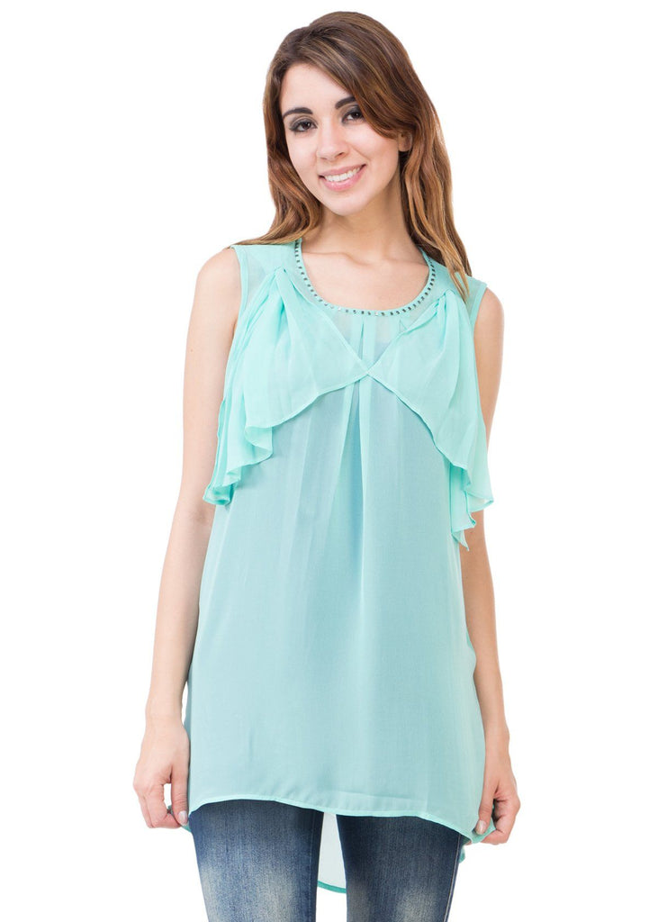 Fab Aqua Green Solid Tunic