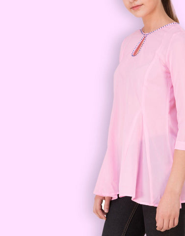 Fab Baby Pink Solid Tunic