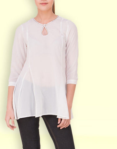 Fab Cream Solid Tunic