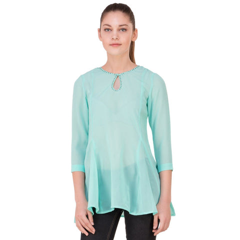 Casual 3/4th Sleeve Solid Women Tunic