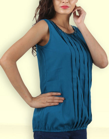 Rama Green Solid Crepe Top